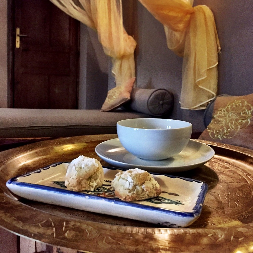 Chamomile tea and coconut macaroons awaited us after the hammam experience