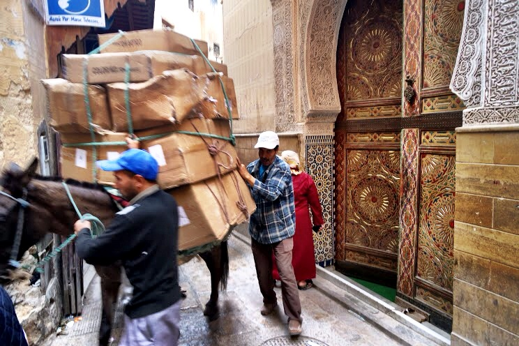 A donkey overpacked with boxes is about as much of a traffic jam you'll encounter in the Fès medina