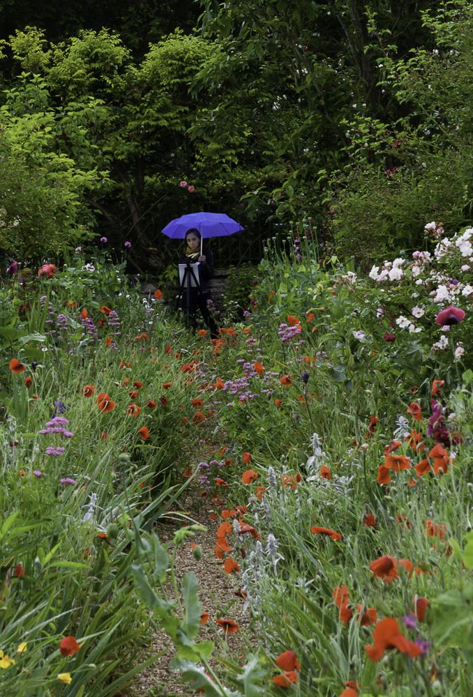 Morgan paints en plein air in Monet's garden at Giverny