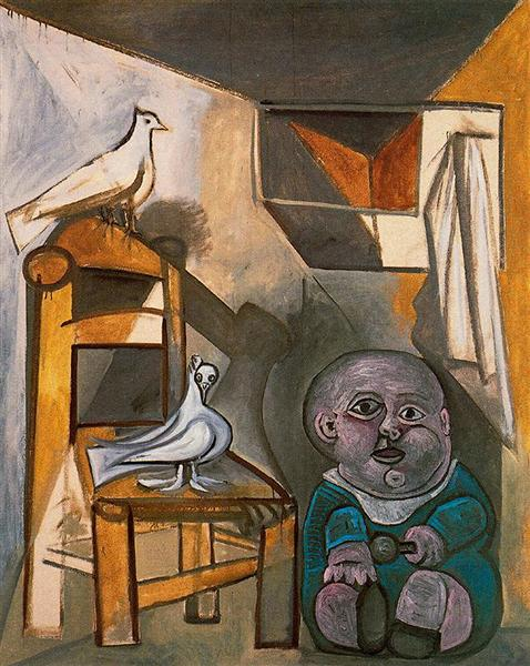 Picasso's fascination with pigeons came from his father, who bred them  (A Child With Pigeons , Picasso, 1943)