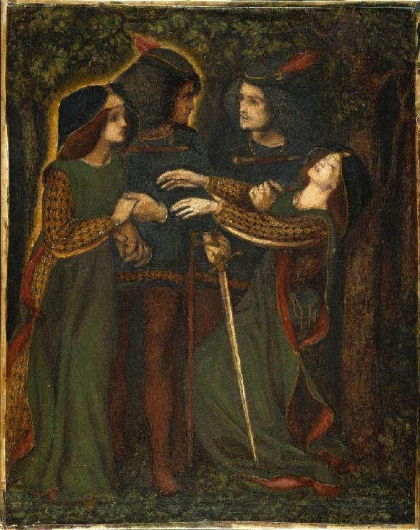 How They Met Themselves, Dante Gabriel Rossetti, c. 1860-1864. A couple comes upon their doppelgängers glowing in the woods. The woman faints, while the man draws his sword