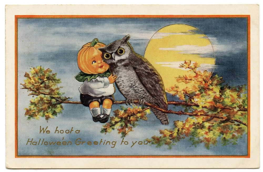 A pumpkin-headed boy and an owl decorate this vintage Halloween card