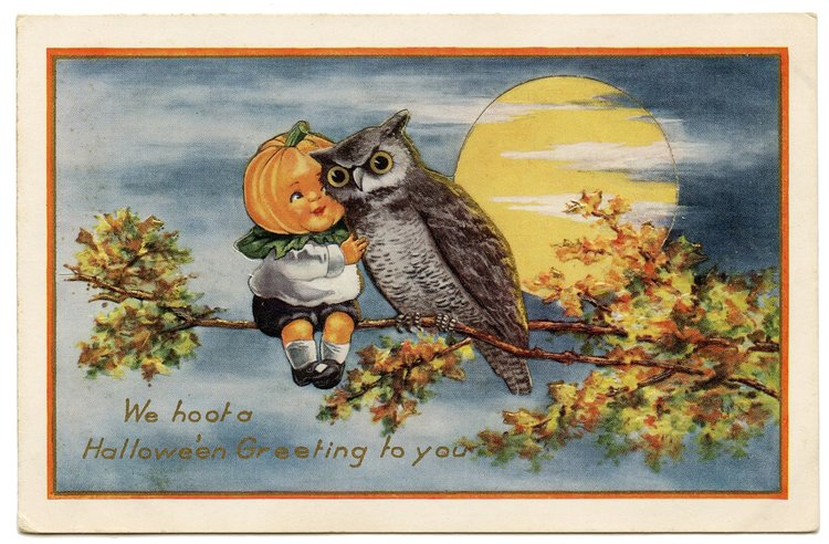 A Pumpkin Headed Boy And An Owl Decorate This Vintage Halloween Card