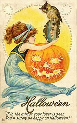 Mirror magic was common on October 31, as seen in this vintage Halloween card