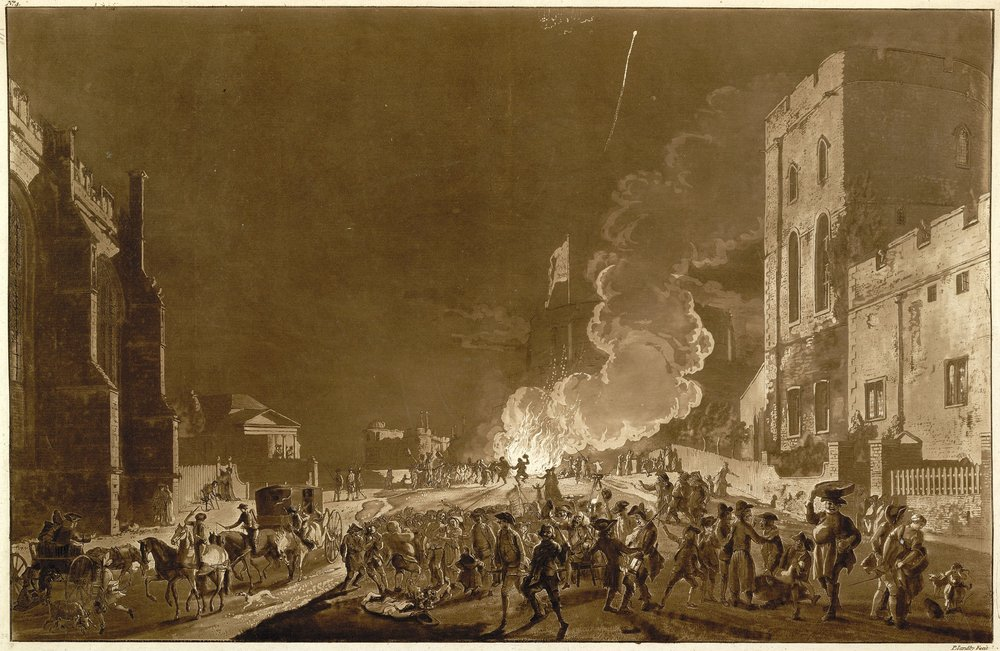 Bonfire Night celebrations take place in front of Windsor Castle in this illustration from 1776