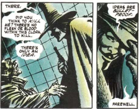 A scene from Alan Moore's  V for Vendetta  graphic novel