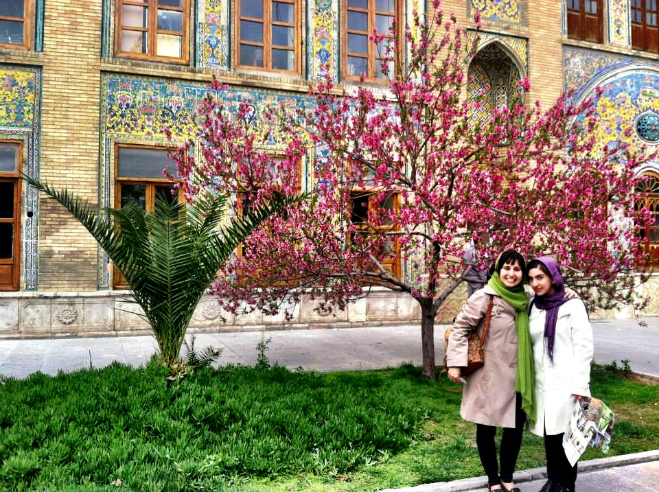 Gorgeous mosaics and flowering trees at Golestan, or Roseland, Palace