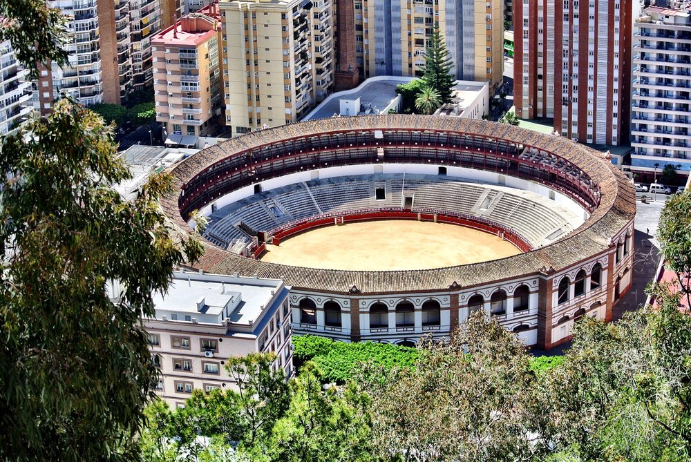 The fortress affords fantastic views, including the iconic bullring of Málaga