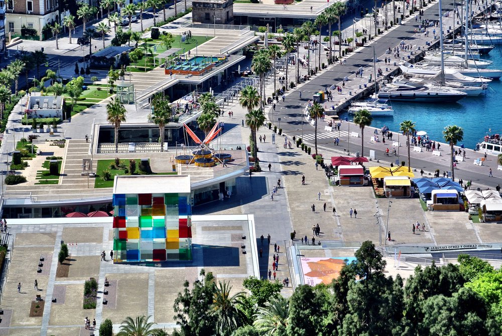 You can even see down to the harborfront. That colorful glass box is the entrance to the Centre Pompidou Málaga
