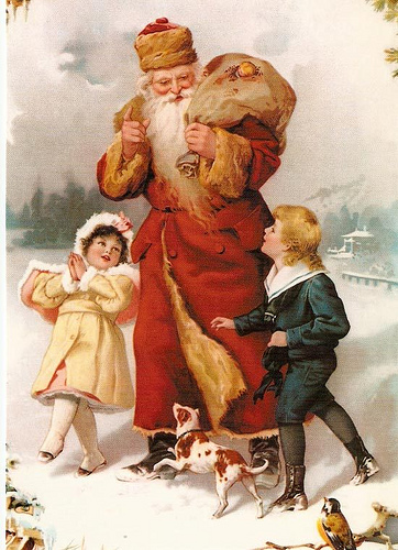 St. Nick lost much of his bishop's attire and began wearing red cloaks before he got his telltale suit
