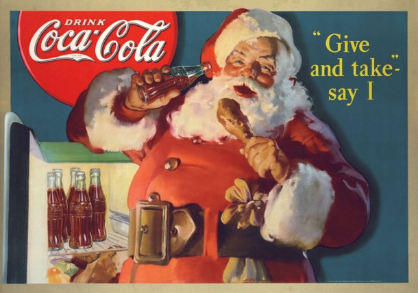 Naughty Santa! I guess people started leaving out milk and cookies so he wouldn't drink their Cokes and eat their leftovers, as seen in this vintage ad