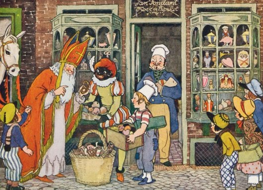 Saint Nicholas' helper is Black Peter, a controversial character that inspires people in the Netherlands to actually think it's OK to wear blackface around the holidays.  Illustration from a book by Rie Cramer