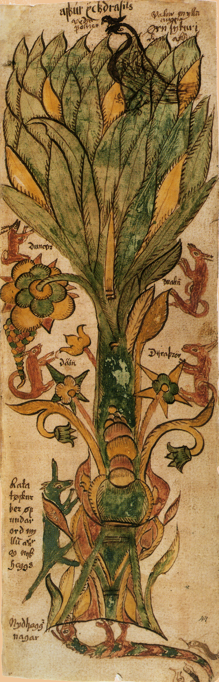 In Norse mythology, the sacred tree Yggdrasil connects the nine worlds