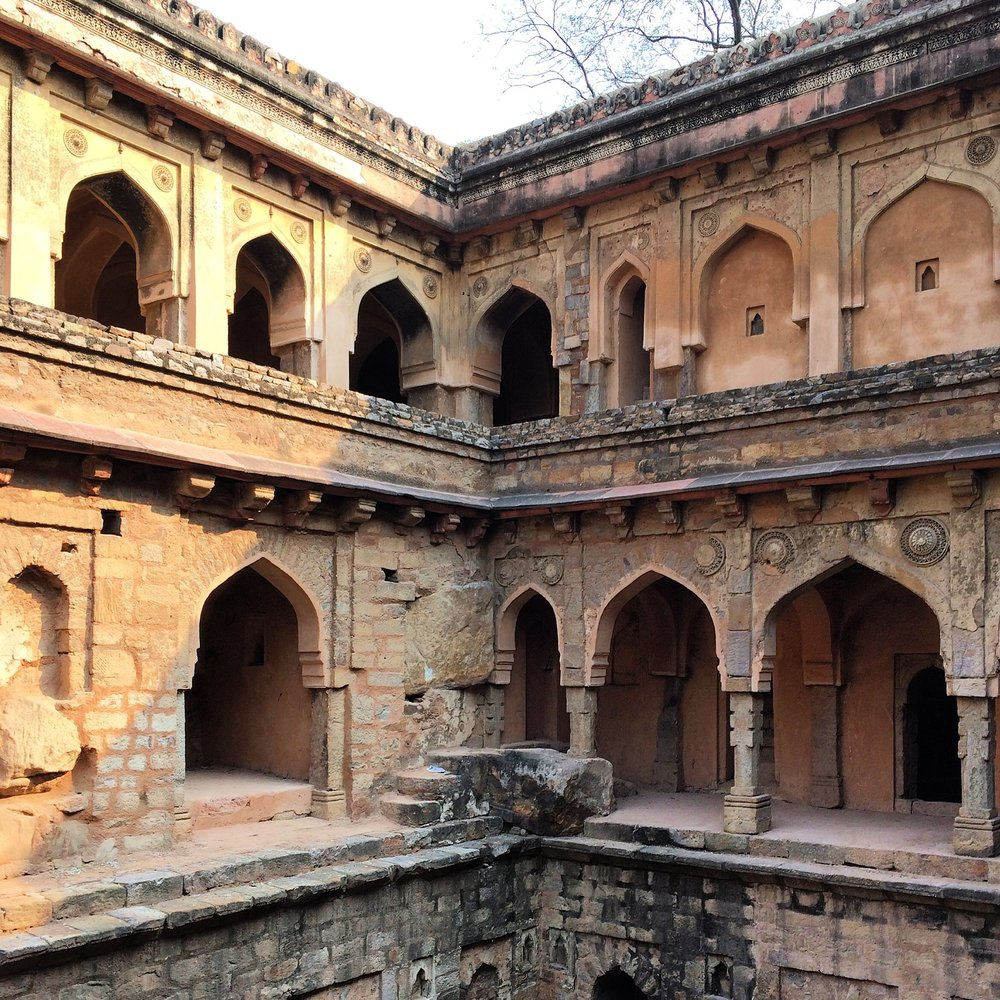 7. A view of the magnificent Rajon Ki Baoli stepwell in Delhi, India, built by Daulat Khan during the reign of Sikandar Lodi in 1516. Chambers located behind the arch-shaped niches once provided respite from the heat and a place for patrons to socialize.