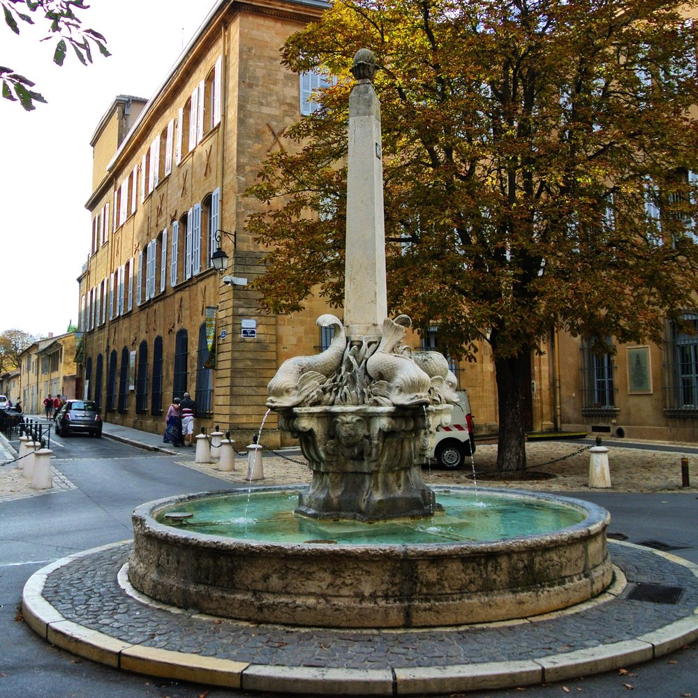 14. Built by sculptor Jean-Claude Rambot and situated in the heart of the Mazarin district, the Fountain of the Four Dolphins in Aix supports an obelisk topped with a pineapple. We spent an afternoon here with our sketchbooks pretending we were bohemian artistes.