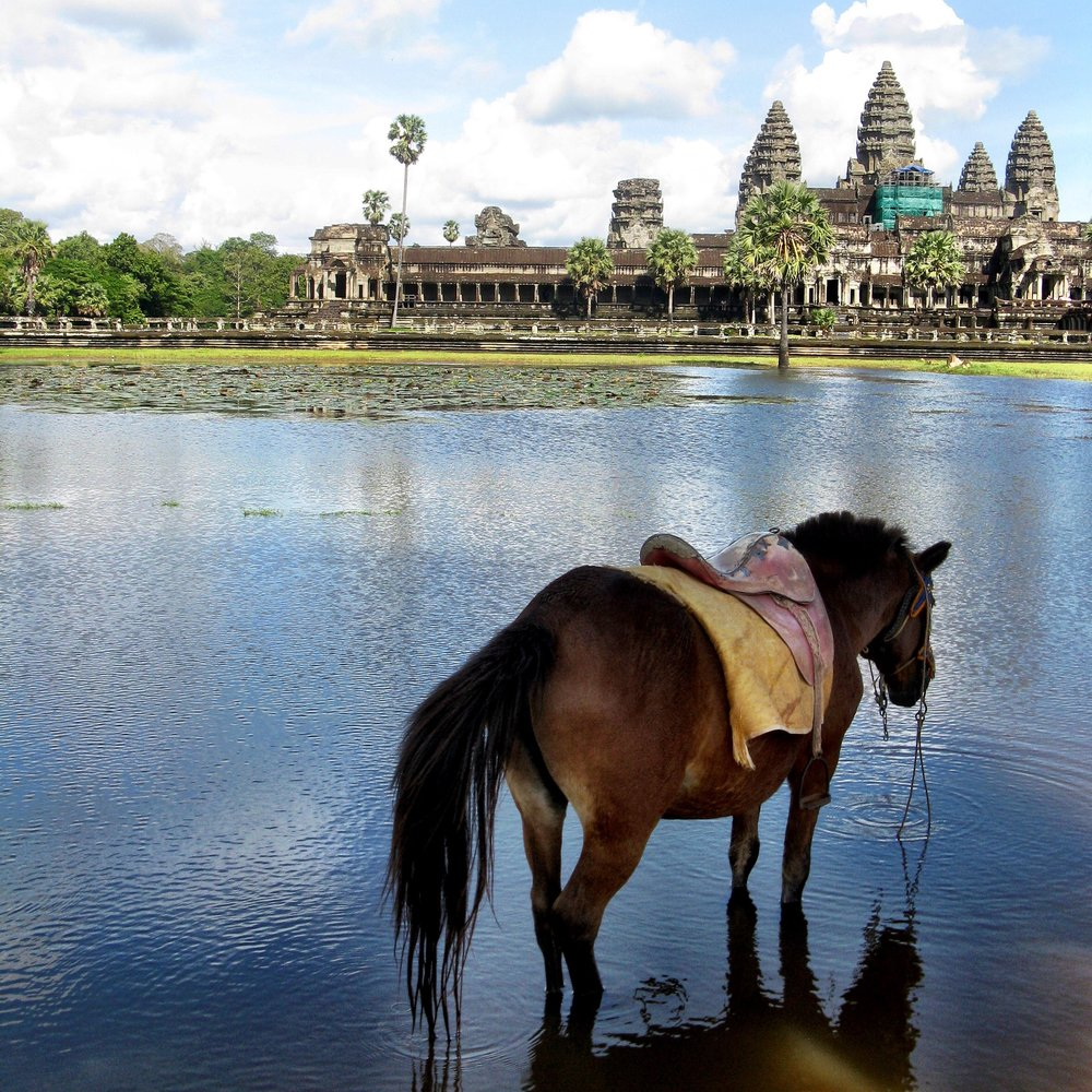 15. The stunning Angkor Wat temple, the largest religious monument in the world, was built by Khmer king Suryavarman II in Siem Reap, Cambodia. It's a symbolic representation of Mount Meru, the Mount Olympus of the Hindu faith and the abode of ancient gods. The complex has been in continuous use since it was built.
