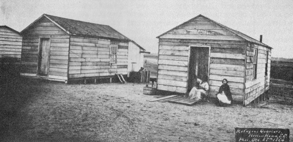 The government gave former slaves the material to build small houses and a plot of land to farm on in Mitchelville on Hilton Head Island. It was the first freedman's community after the American Civil War