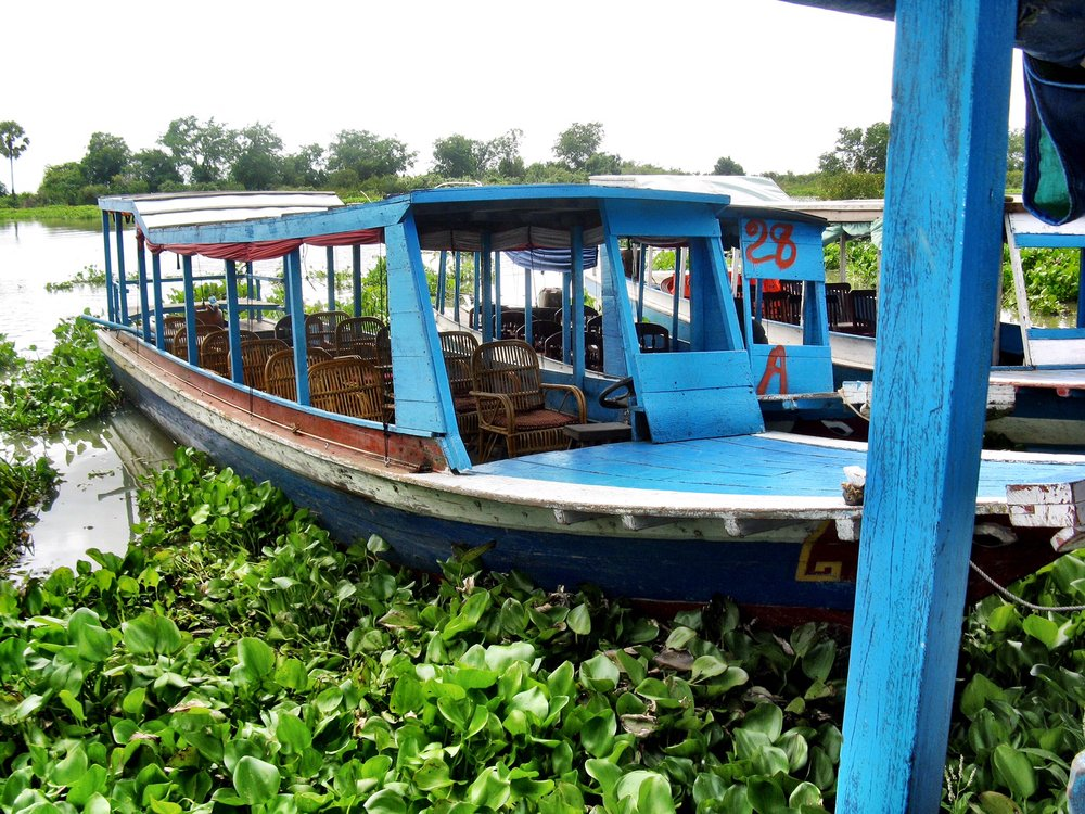 One of the tourboats you'll ride in to explore the floating village