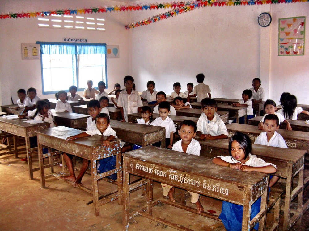 A classroom we toured — but where are all the books and paper?