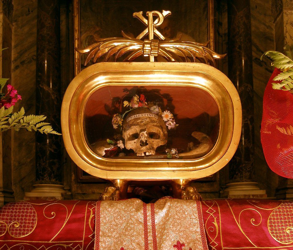 The skull of Saint Valentine resides in the Basilica of Santa Maria in Cosmedin in Rome, Italy