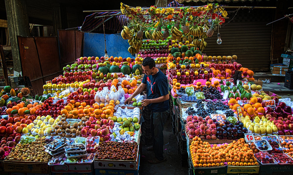 A colorful fruit stand in downtown Cairo