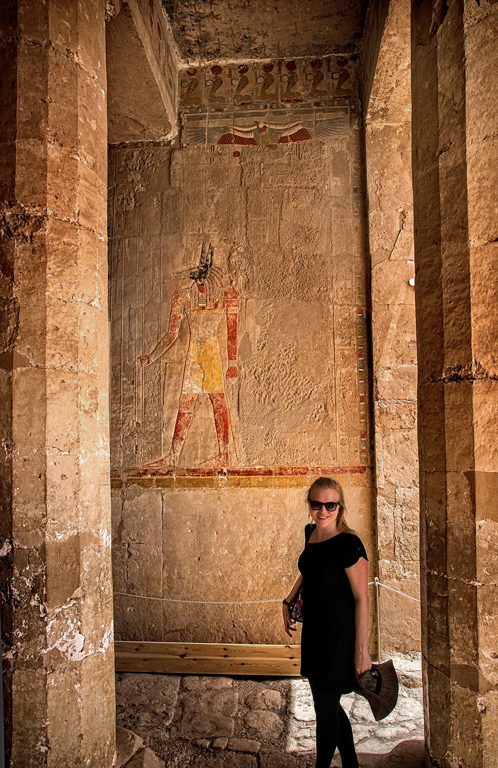 Our intrepid adventurer in the Mortuary Temple of Hatshepsut, the only female pharaoh