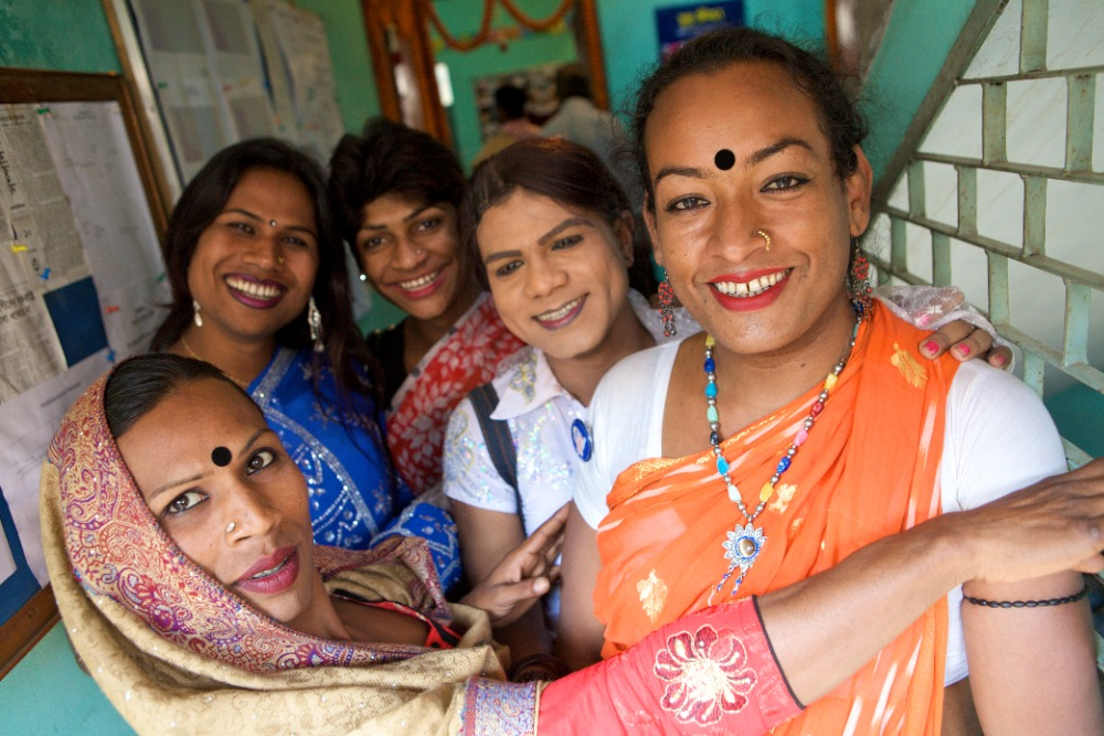 A group of hijras, India's legally recognized third sex, in Bangladesh