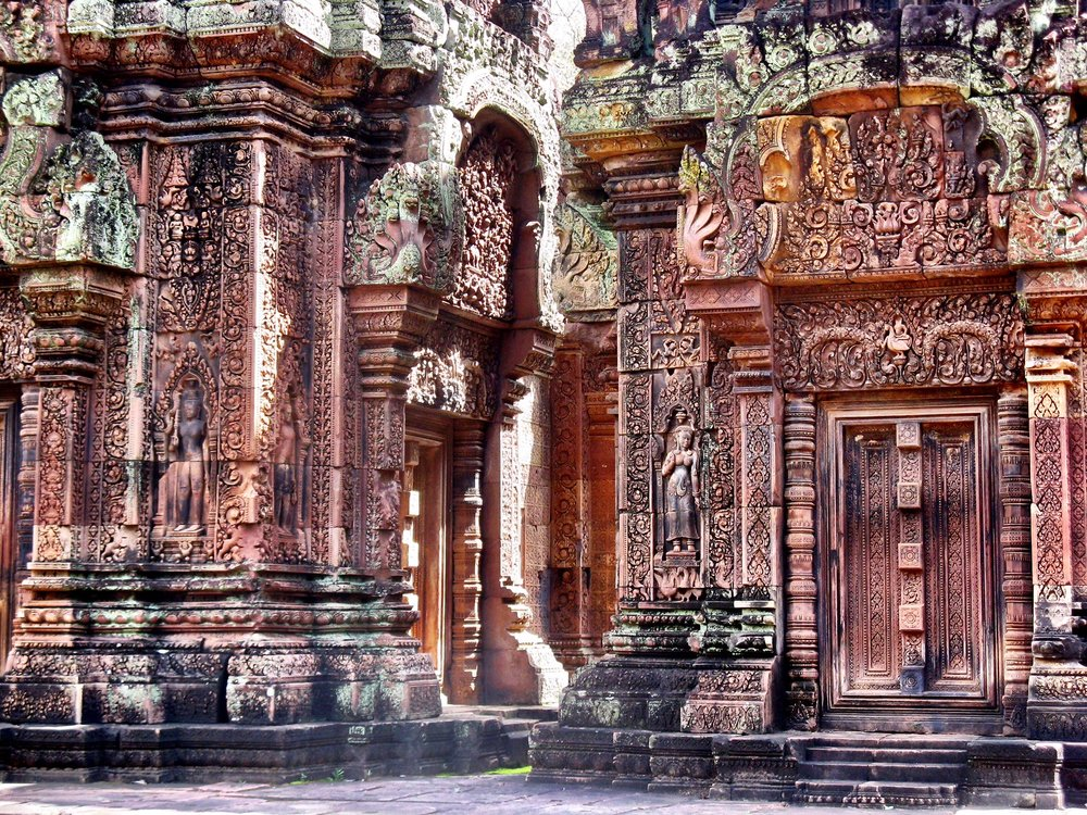 The Pink Temple's rosy-hued sandstone allowed for elaborate carvings