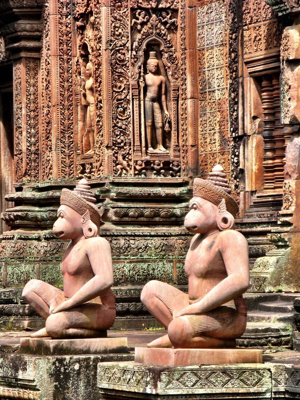 Gods called devatas pose in niches, guarded by animal-headed warriors