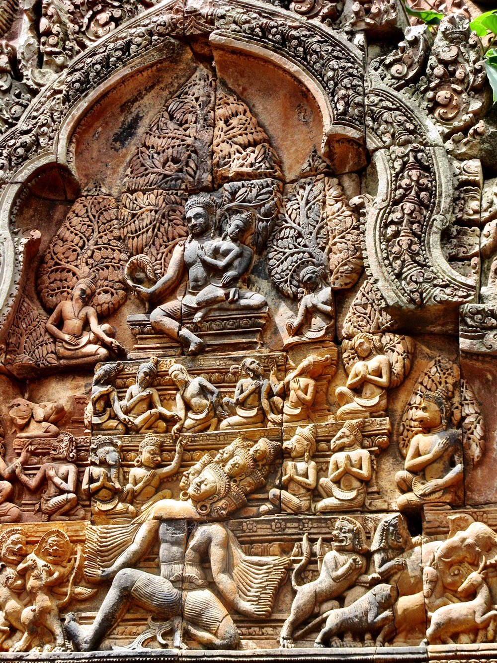 In this image, the demon king Ravana tries to lift Mount Kailash, where Lord Shiva is meditating, and bring it back to his own kingdom