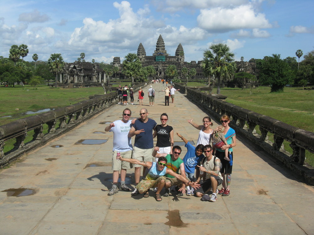 Our group poses in front of Angkor Wat, the largest religious structure in the world. Take that, Saint Peter's!