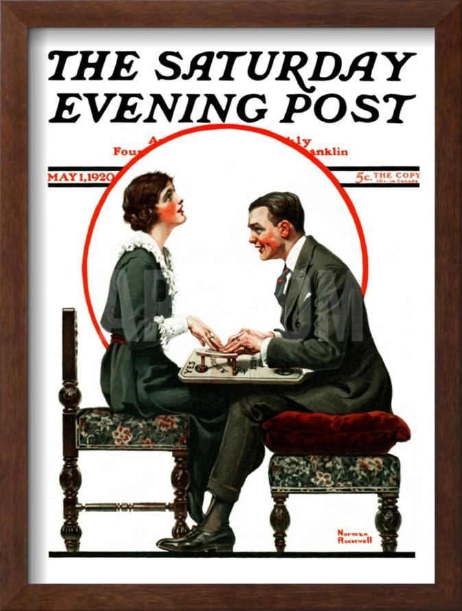 Norman Rockwell painted a scene of a couple using a Ouija board for a cover of  The Saturday Evening Post