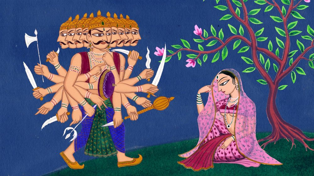 Ravana, the 10-headed King of Rakshasas kidnapped the lovely Sita in the Hindu epic the  Ramayana