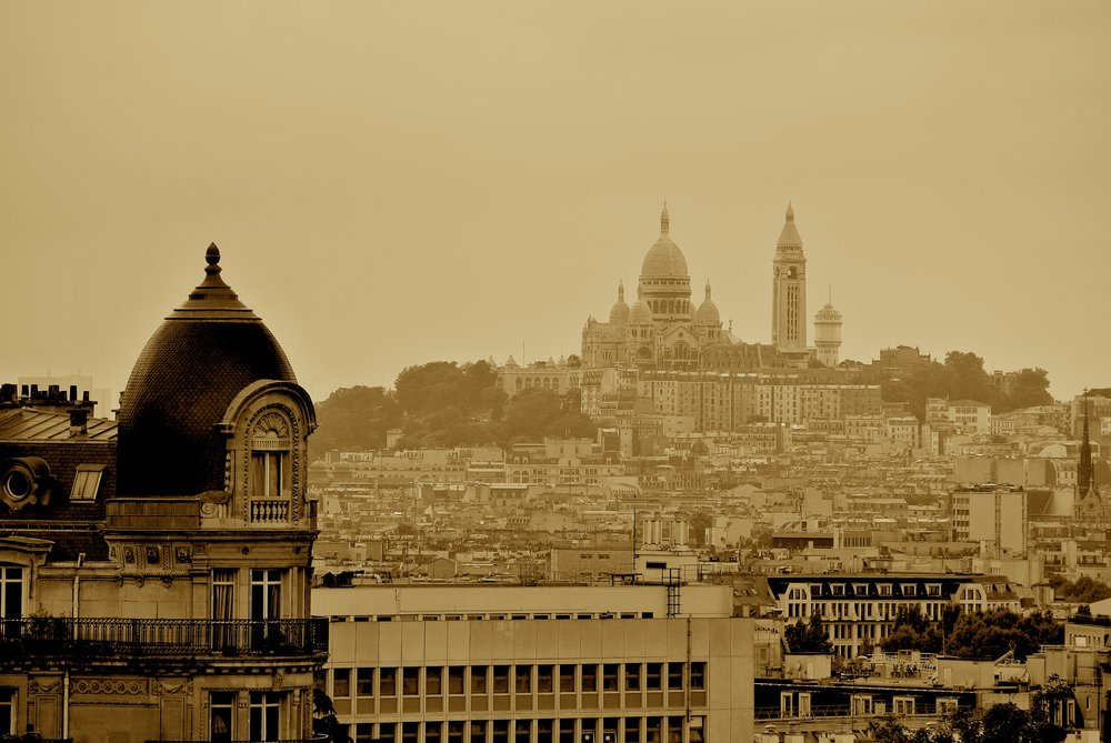 The Greek temple, or folly, at Buttes Chaumont affords a fantastic view of Montmartre, topped by Sacré Coeur cathedral