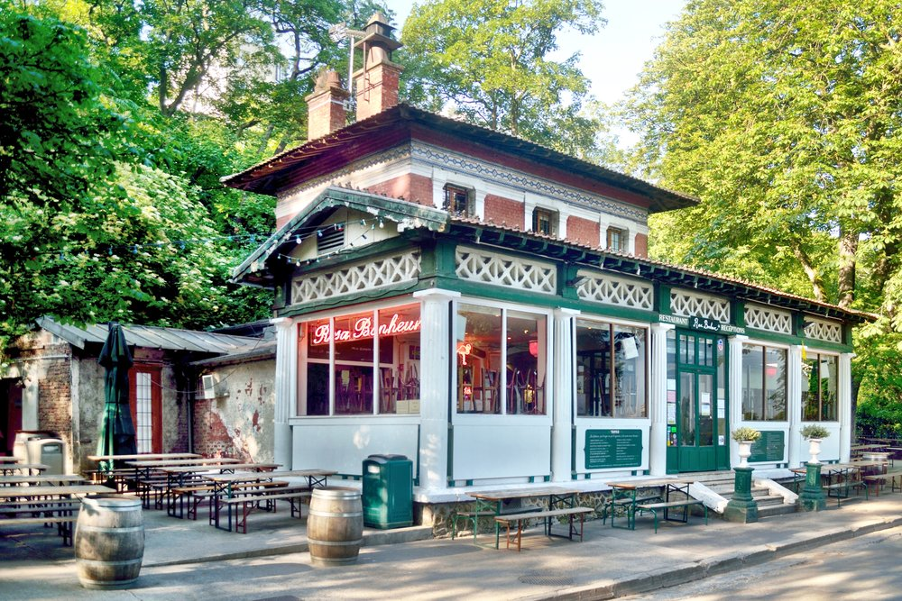 The charming Rosa Bonheur bar at Buttes Chaumont in Paris, France