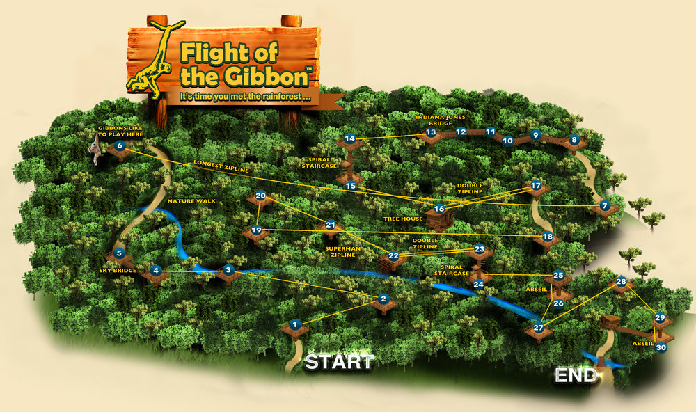 A map of the 30 stations you'll work your way through at Flight of the Gibbon