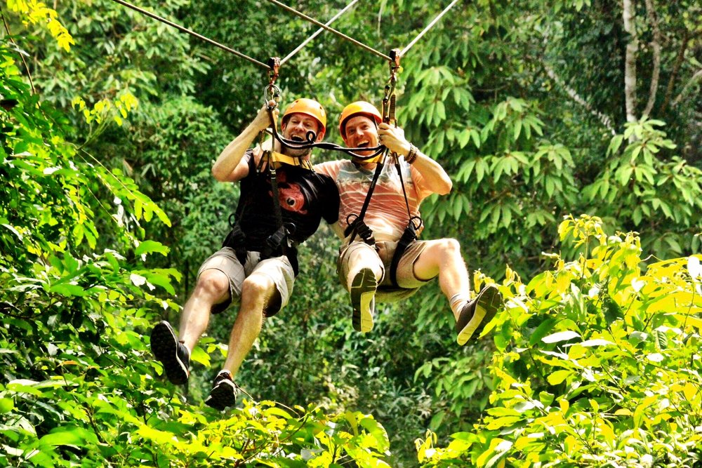 Duke and Wally on one of the two double ziplines at Flight of the Gibbon