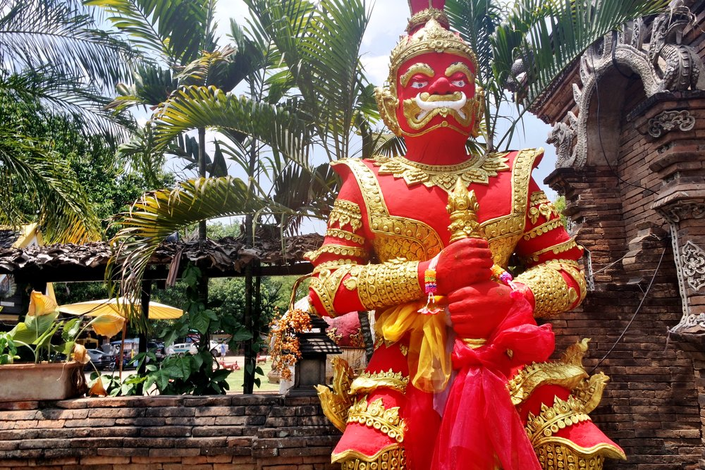 Guarding the temple are what look like evil demons — but they're actually nice nature spirits known as yakshas