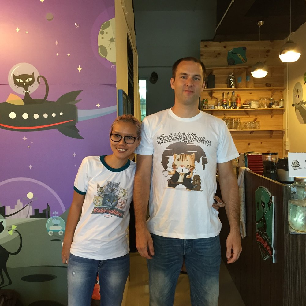 Nhoon and Ben, the owners of Catmosphere in Chiang Mai, Thailand