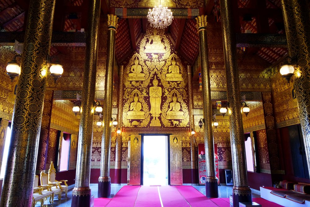 The beautiful interior of the viharn, or worship hall