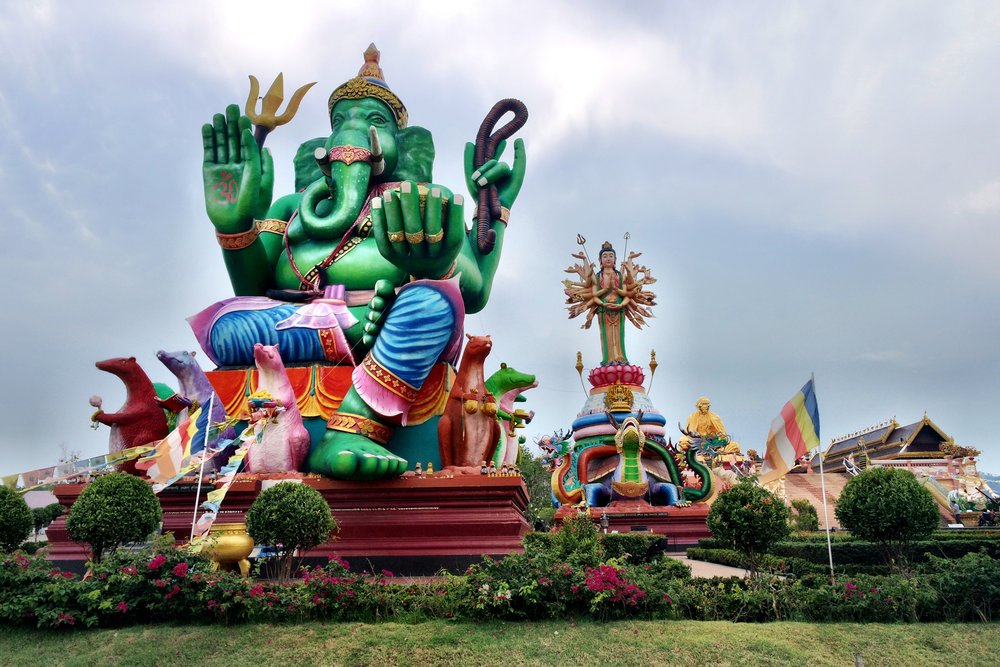 Ganesh and other giant Hindu deities can be found out back, in a sort of theme park