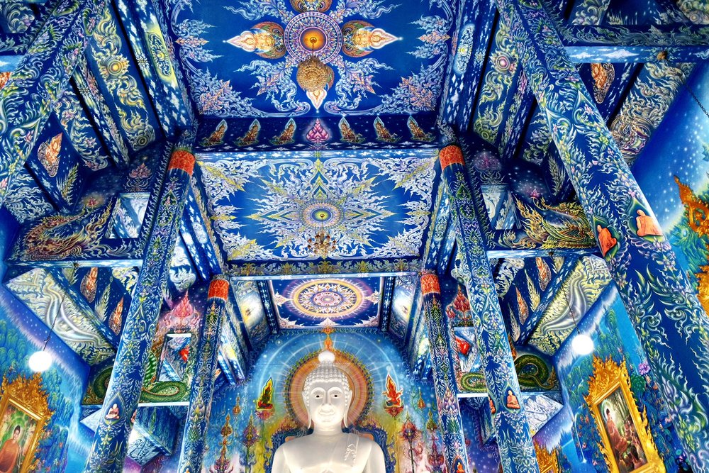 The celestial themes and twilight blue create a mystical feel to the temple's interior