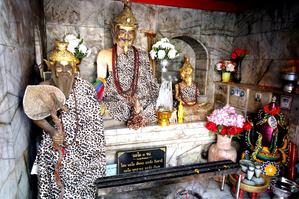 A shrine to Sudeva the hermit wears a leopard-print cloth and has some rather realistic-looking hair