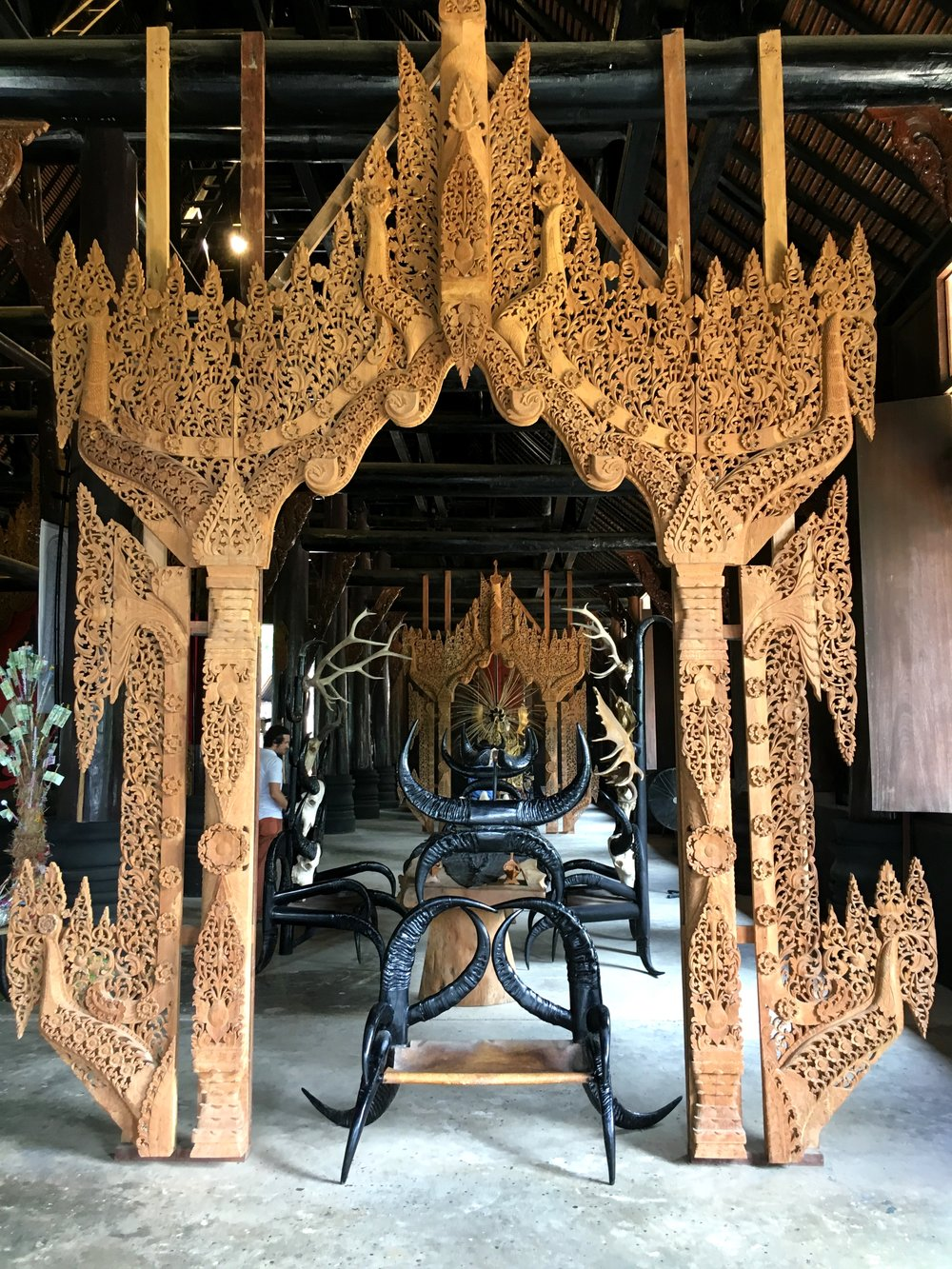 A throne made of animal skins and horns