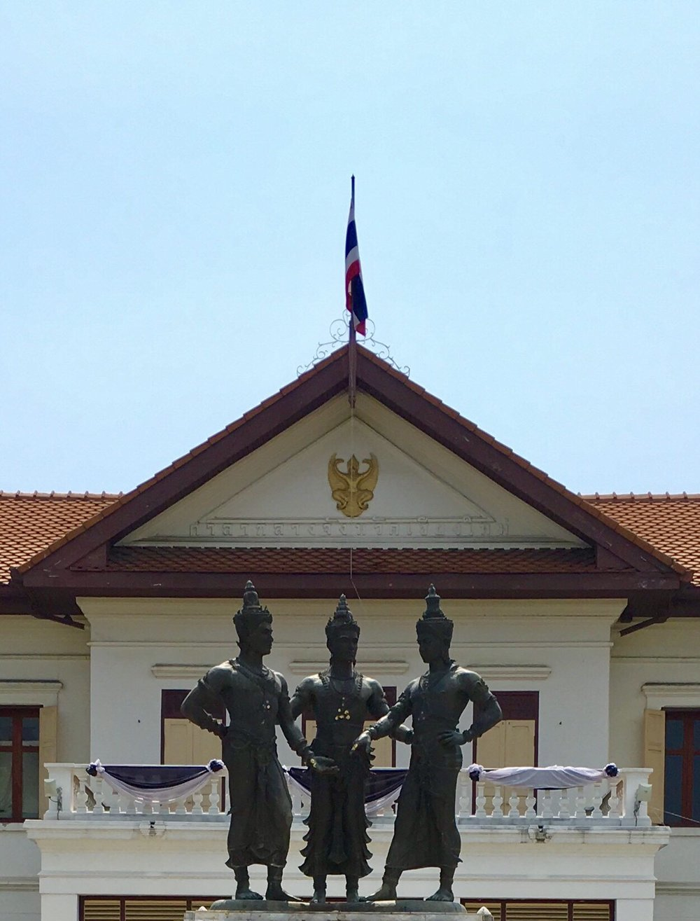 The Three Kings Monument in Chiang Mai — that's Mengrai in the middle