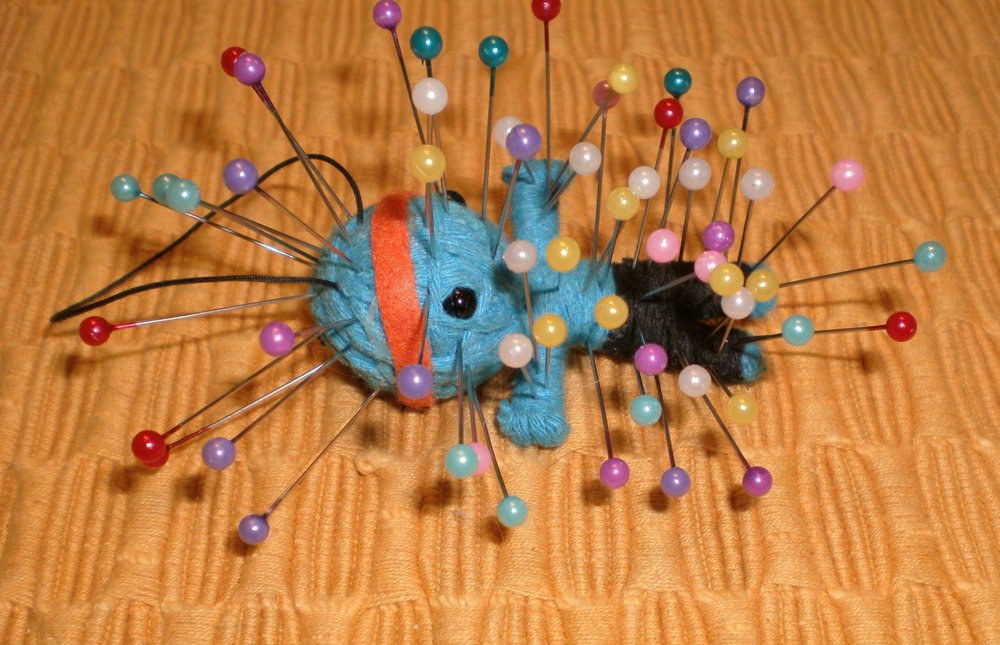 I'd hate to think what someone did to get this voodoo doll treatment!