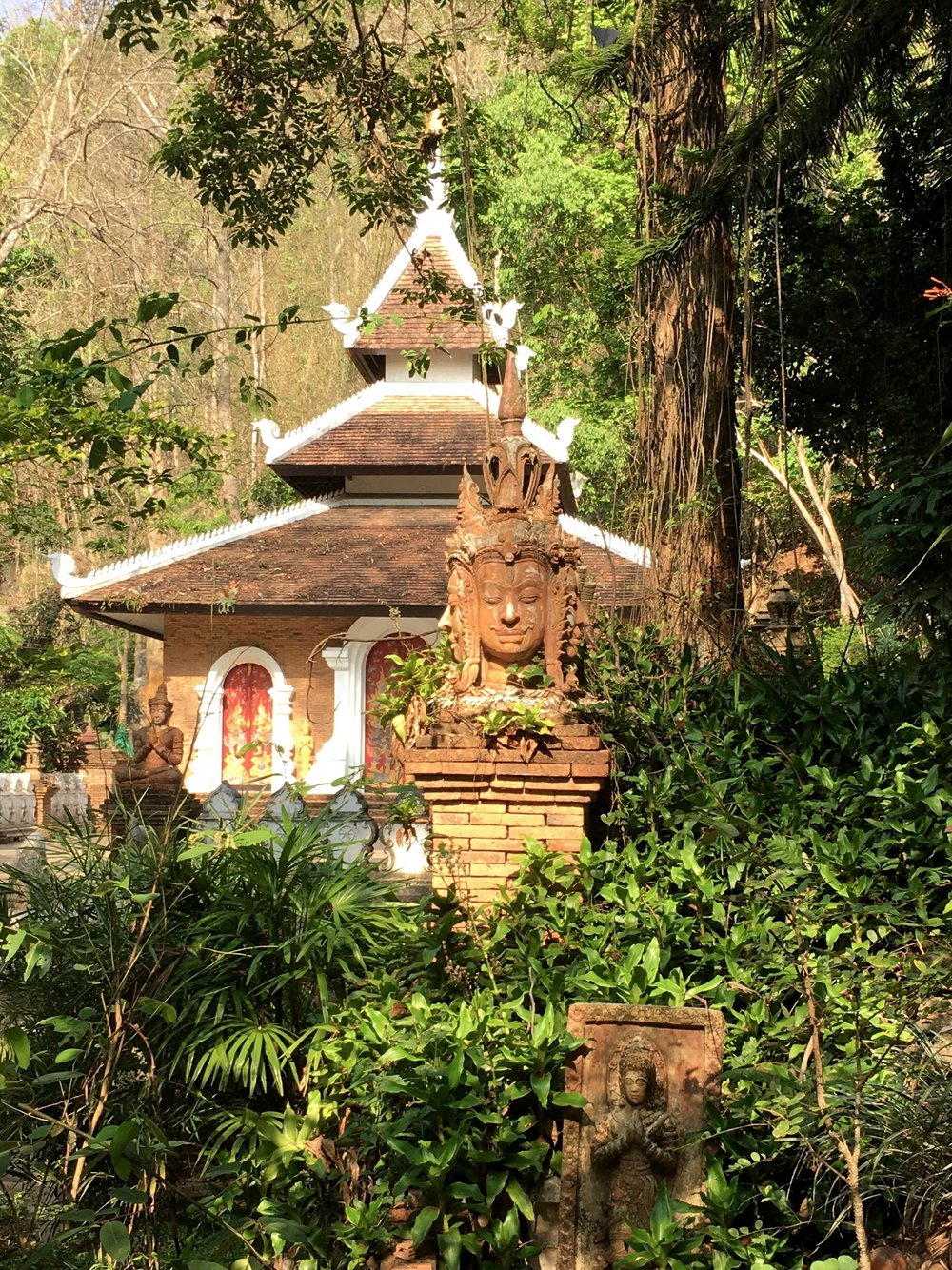The jungle has reclaimed parts of Wat Palad — which makes it a fun change from most other temples in the Chiang Mai area