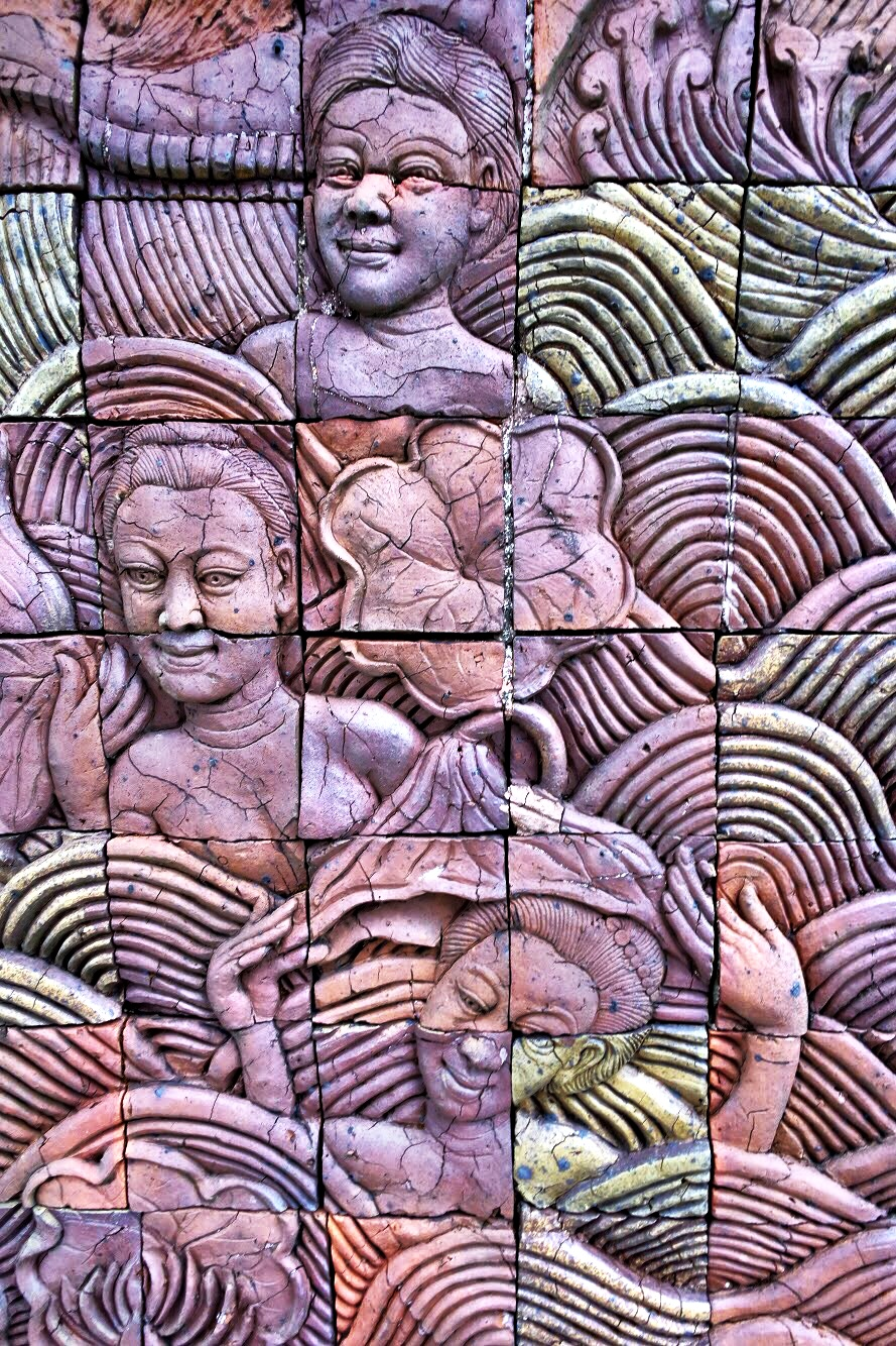 Three ladies go for a swim in this cool bas relief at the pagodas atop Doi Inthanon