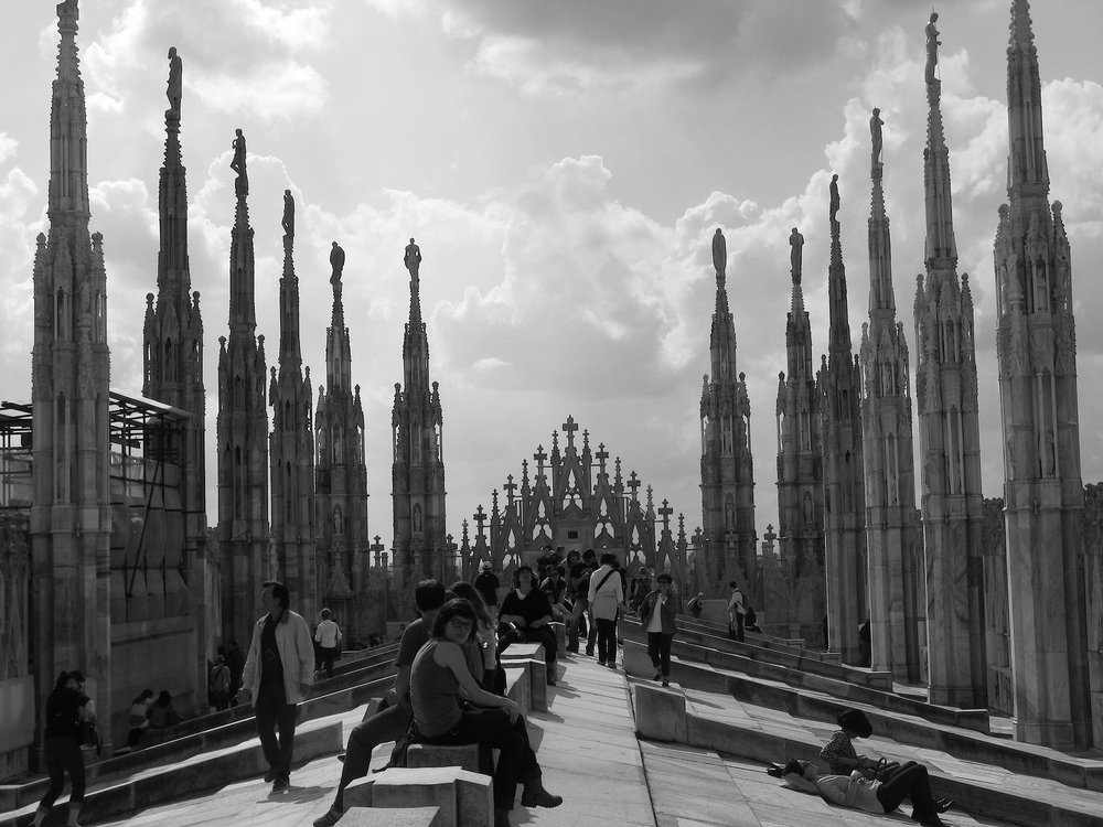 The terraza atop the Milan Duomo is a popular (and absolutely stunning) hangout spot