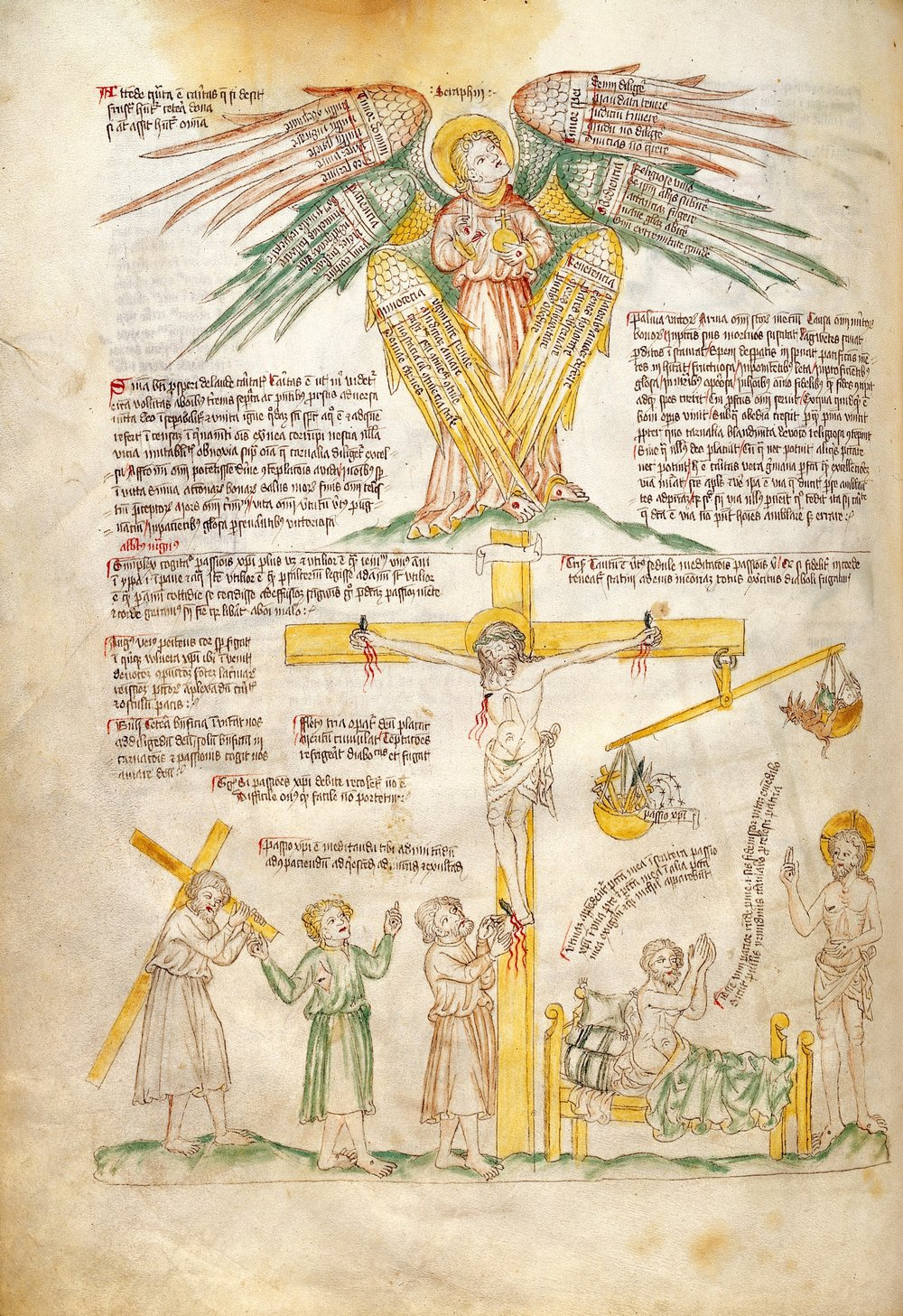 This illuminated manuscript depicts a six-winged seraphim above the crucifixion of Christ